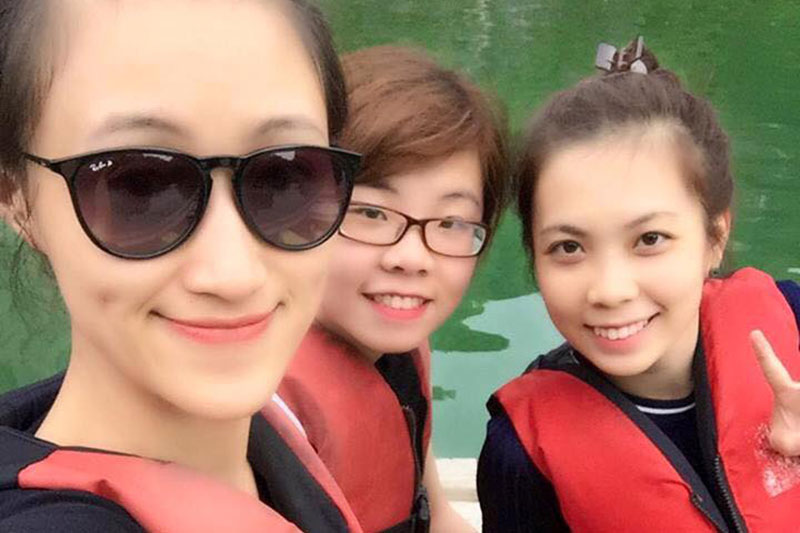 With teammates in Halong Bay