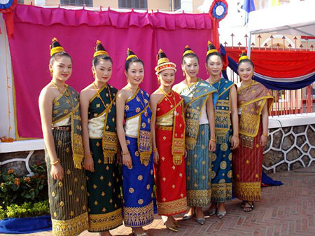 Laotian women in traditional costume