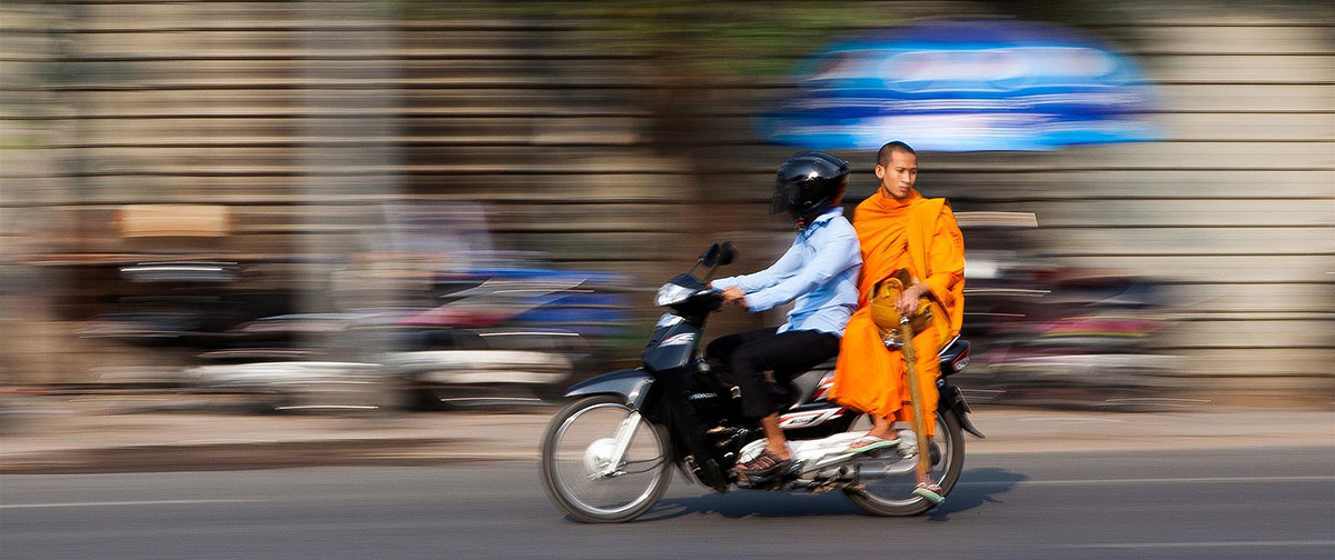 A monk in the street of Phnom Penh