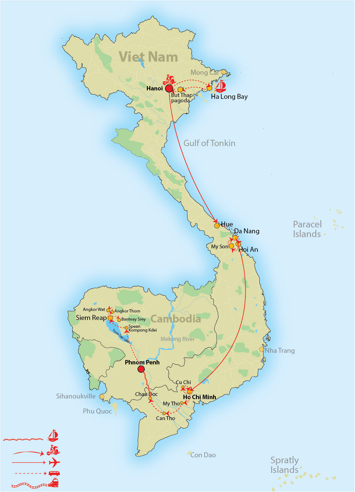 Vietnam Highlights Cambodia Through Mekong River - Rivers of vietnam map