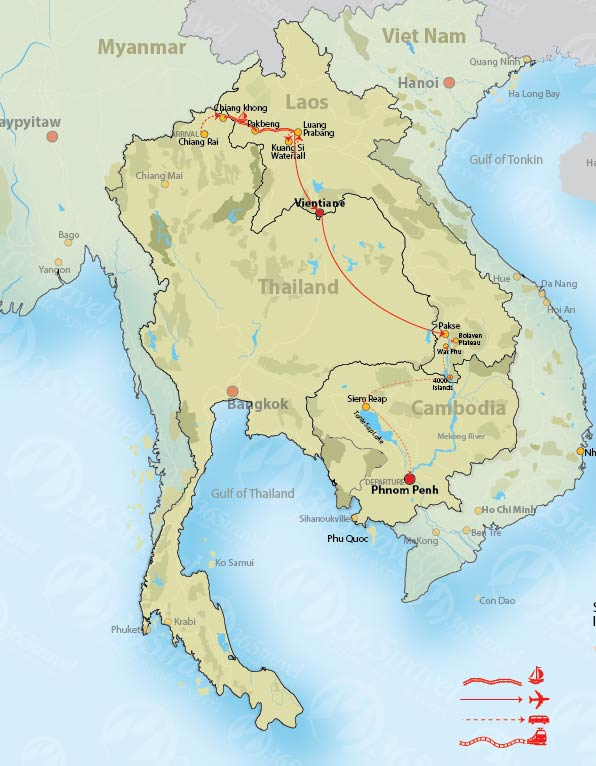 Thailand Laos Cambodia Through Border: Thailand Laos Border Crossing Map At Infoasik.co