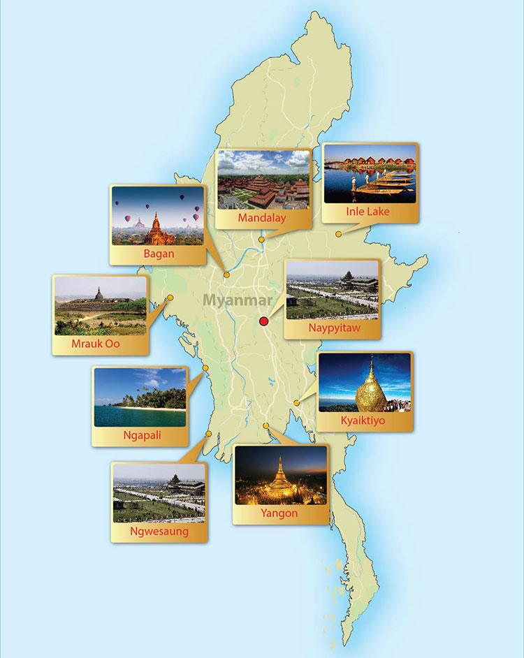 Myanmar Daily Tours Burmese Day Tours by Local Tour Agency 365 – Burma Tourist Map